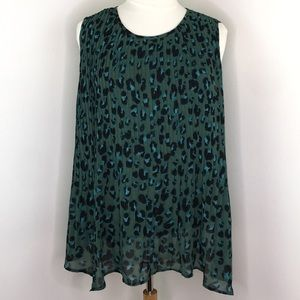 Ava & Viv Emerald Green Sleeveless Blouse